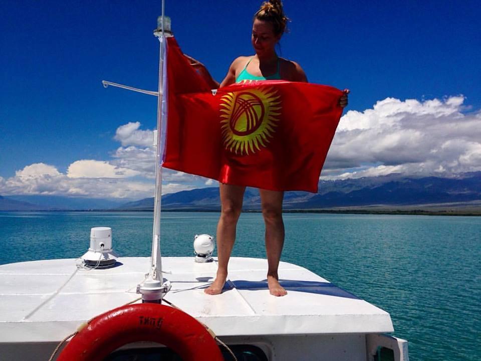 sarah and flag